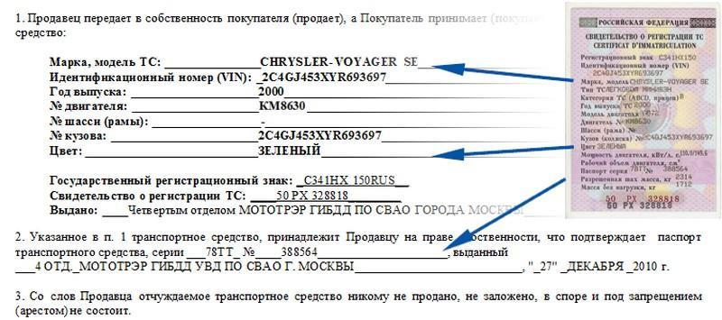 Образец составления договора купли-продажи авто