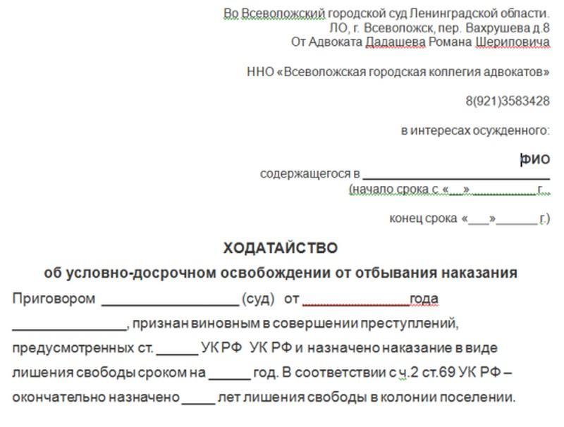 Образец ходатайства на УДО по статье 79 УК РФ и особенности подачи