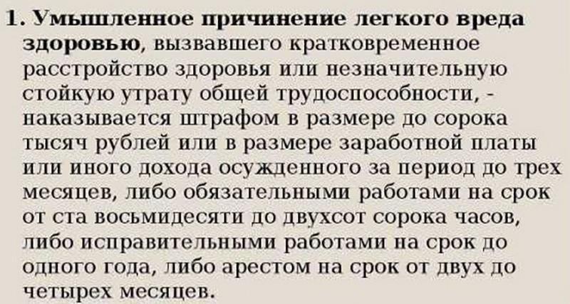 Классификация и ответственность за причинение вреда здоровью по статье 115 УК РФ