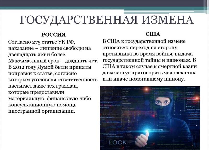 Наказание за государственную измену в России по ст 275 УК РФ